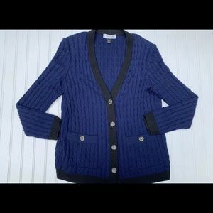St. John Collection Large Cable Knit Sweater Wool